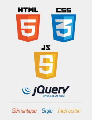 Logo HTML5 CSS3 Javascript jQuery. Agence web du Pays de Brest